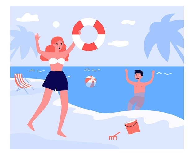 Woman running with flotation ring to sinking boy. sea, water, danger flat vector illustration. emergency and vacation concept for banner, website design or landing web page