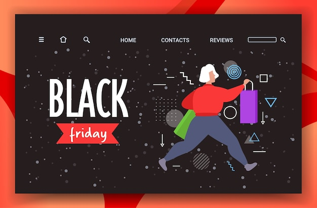 Woman running with shopping bags black friday big sale
