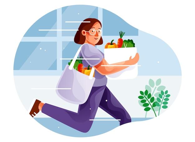 女性ラッシュショッピング健康野菜