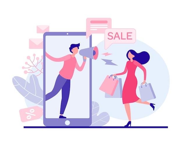 휴일 판매 평면 그림을 서두르는 여자. 가방이 달린 여성 캐릭터는 판촉 품목을 위해 상점을 운영합니다. 온라인 애플리케이션에서 확성기를 사용하는 마케터가 전자 상거래 할인에 대해 이야기합니다.