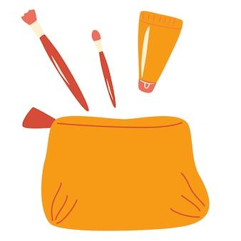 여자 화장품 가방. 메이크업 브러쉬, 립스틱, 크림. 뷰티 블로거, 패션 및 매력의 개념. 소셜 미디어 등을 위한 벡터 디자인을 쉽게 편집할 수 있습니다. cartoon flat illustration.