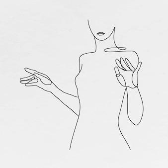 Woman's body line art feminine drawing on gray background