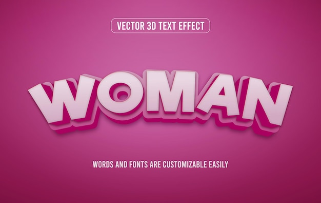 Woman's day 3d editable text effect style