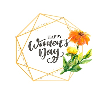 Woman s day text design with flowers and hearts on square background.