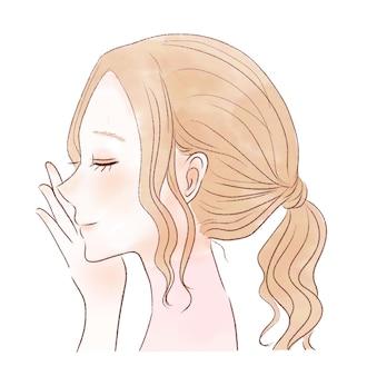 눈을 감고 있는 여자의 얼굴. 흰색 배경에.