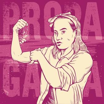 여성의 힘과 산업의 여자의 주먹 / 기호