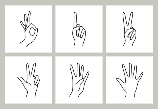 여자의 손으로 가리키는 손가락 아이콘 컬렉션 라인. 0, 1, 2, 3, 4, 5 - 다른 제스처의 여성 손의 벡터 일러스트 레이 션. 트렌디한 미니멀리스트 스타일의 선화.