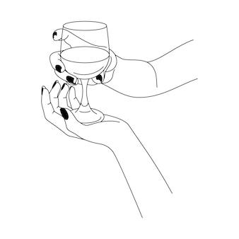 Женская рука держит бокал вина в стиле минимализма. векторная иллюстрация моды женского тела в тенденциях линейного стиля. изобразительное искусство для плакатов, татуировок, логотипов магазинов и баров
