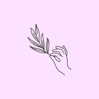 女性の手は、植物のアイコンラインの小枝を保持しています。女性の手のベクトルイラスト。トレンディなミニマリストスタイルの線画。ロゴやエンブレム、ポストカード、ポスター、tシャツプリント用