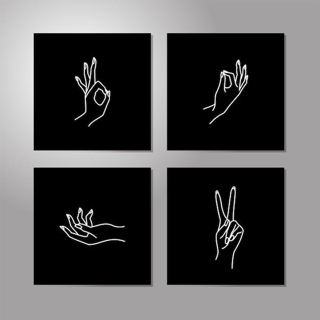 女性のハンドラインコレクション。さまざまなジェスチャーの女性の手のベクトルイラスト-勝利、大丈夫。トレンディなミニマリストスタイルの線画。ロゴデザイン、ハンドクリーム、ネイルスタジオ、ポスター、カード。