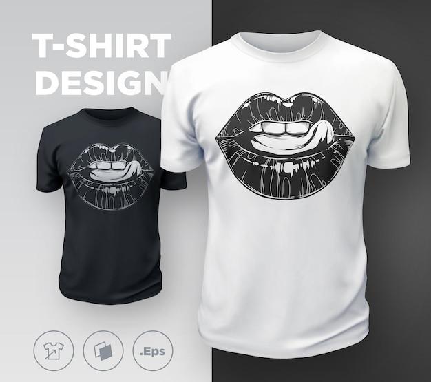 Женская футболка с принтом губ. сексуальный рот черно-белой девушки крупным планом. векторная иллюстрация
