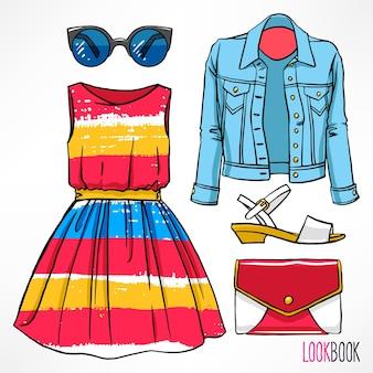 女性の春の装い。ドレスとアクセサリー。手描きイラスト