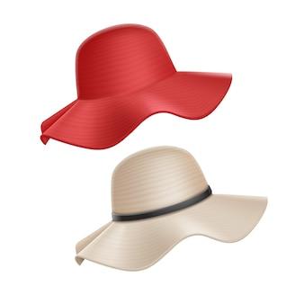 Женская летняя красно-белая соломенная шляпа на белом фоне