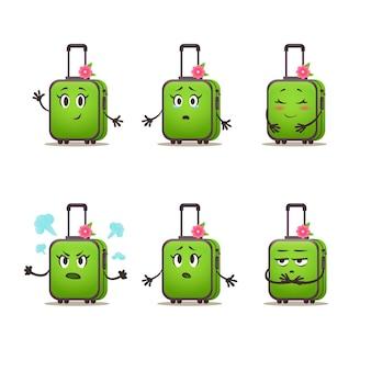 Набор эмоций дорожная сумка женщины. пакет чемоданов вектора шаржа. векторная иллюстрация.