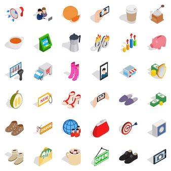 Woman sale icons set, isometric style