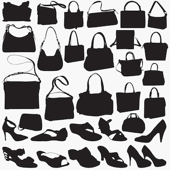 Woman sandal purse silhouettes