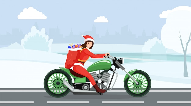 Woman in santa claus costume riding motorbike cartoon character
