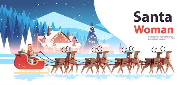 Woman in santa claus costume riding sledge with reindeers happy new year merry christmas holiday celebration concept winter landscape background horizontal copy space vector illustration