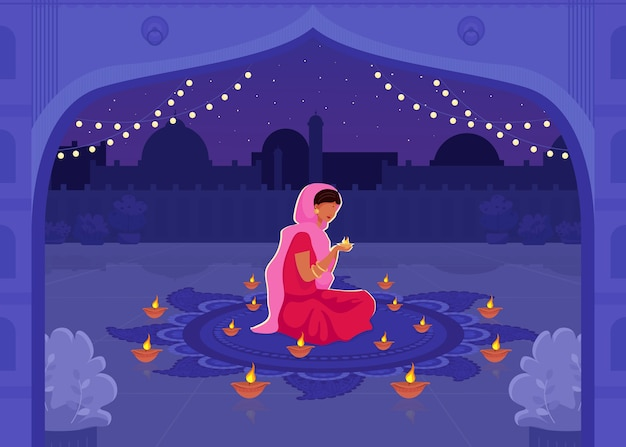 Woman in sari pray flat color illustration. diwali festival with diya candles. traditional hindu holiday prayer. indian female 2d cartoon characters with cityscape on background