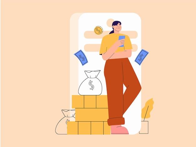 Woman saving money on wallet digital illustration