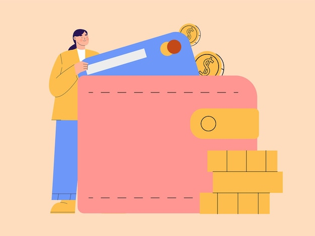 Woman saving money on wallet illustration