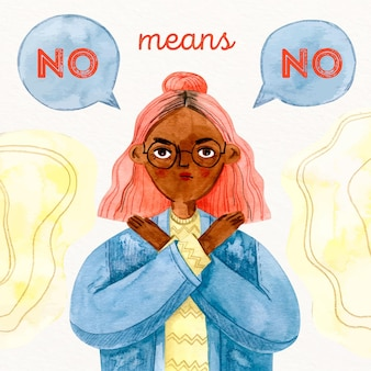 Woman saying no means no discrimination concept