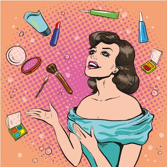 Woman and scattered makeup in pop art style
