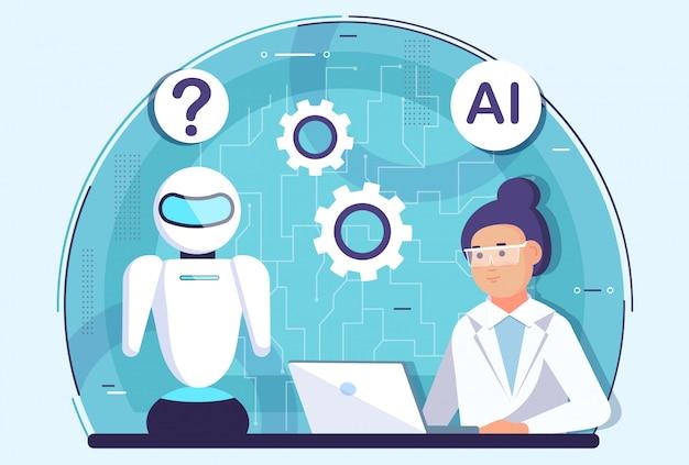 Женщина-ученый разрабатывает робота-помощника