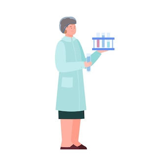 Woman scientist or laboratory assistant flat vector illustration isolated