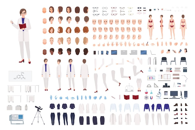 Женщина-ученый или научный лаборант, конструктор, или комплект diy. пачка женских частей тела, лабораторной одежды и оборудования, изолированных на белом фоне.