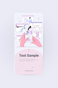 Woman scientist using microscope analyzing dna structure on smartphone screen researcher making experiment in lab dna testing genetic engineering concept