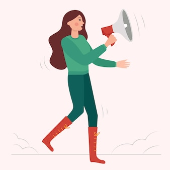 Женщина кричит с мегафоном