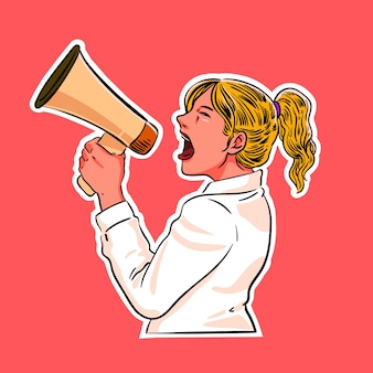 Woman screaming with a megaphone