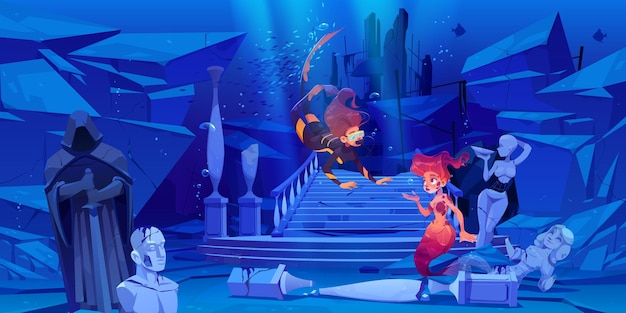 マスクを持つ女性のスキューバダイバーは、海または海の漫画イラストで水中で人魚に会います