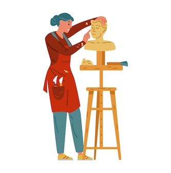 Женщина скульптор делает статую ремесленник женский персонаж