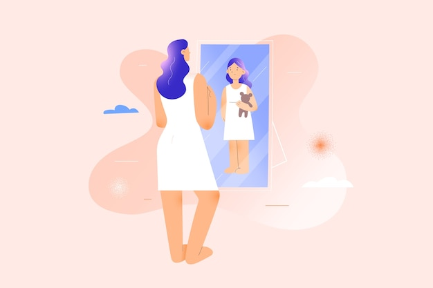 鏡の反射で自分を子供の女の子として見ている女性