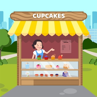Woman selling cupcakes flat vector illustration