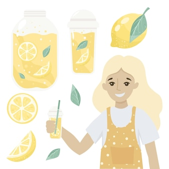 노란색 레몬 과일 조각으로 맛있는 음료 유리 신선한 레모네이드를 판매하는 여자