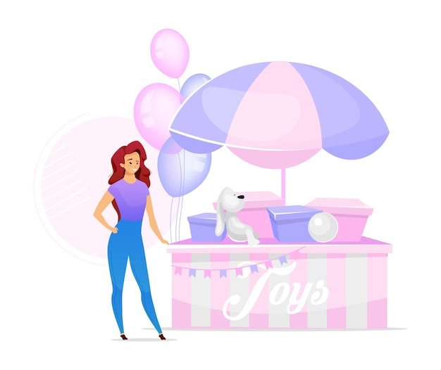 Woman selling toys flat color illustration. female vendor at stand. girl buying handmade playthings. handcrafted plush, stuffed toy animals. isolated cartoon character on white background