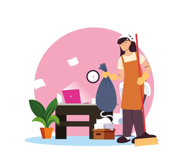 Woman service cleaning on time desing