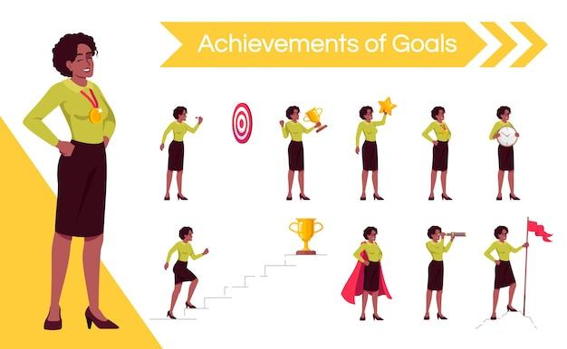 女性設定目標フラットベクトルイラストセット。キャリアのはしごを上に移動する女性サラリーマンは、漫画の1つのキャラクターキットを分離しました。目標を達成し、認識を得ている勝利の実業家