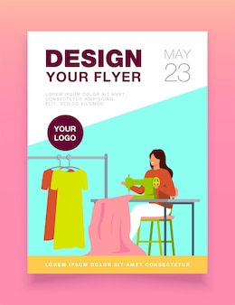Woman sewing new dress on stitching machine flyer template
