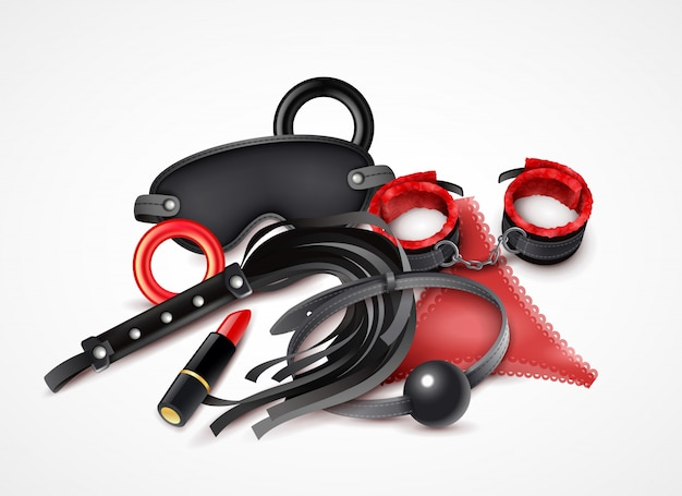 Woman sex toys realistic design concept in red and black colors with lipstick handcuff and lash  illustration