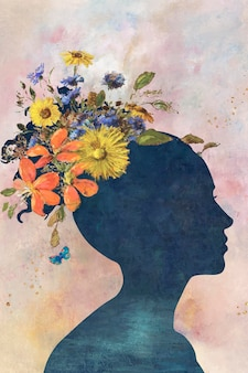 Woman shadow with flowers on painting background