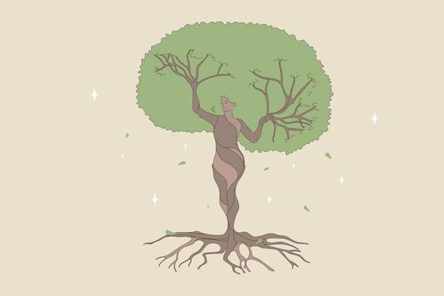 自然の森の木である女性の形。自然を保存し、保護することにより、自然と人間のバランスのベクトル概念図。