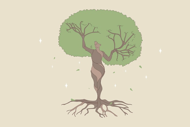 Woman shape being a natural forest tree. vector concept illustration of nature and human balance by saving and protect nature.