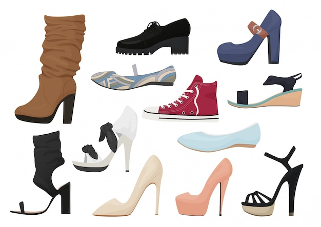Woman shoes icons set