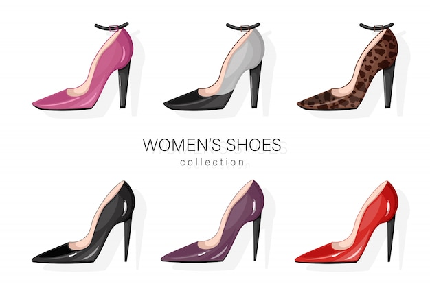 Woman shoes pumps set.