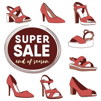 Woman shoes sale design Free Vector