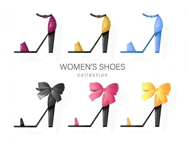 Woman shoes set collection